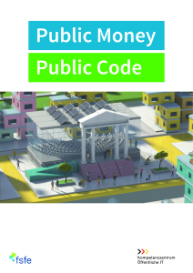 Titelbild der Publikation Public Money Public Code - Modernisierung der öffentlichen Infrastruktur mit Freier Software