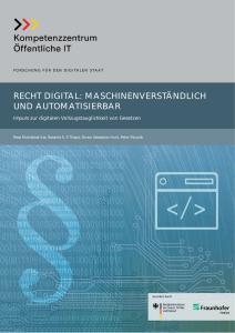 Titelbild der Publikation Recht Digital - Maschinenverständlich und automatisierbar