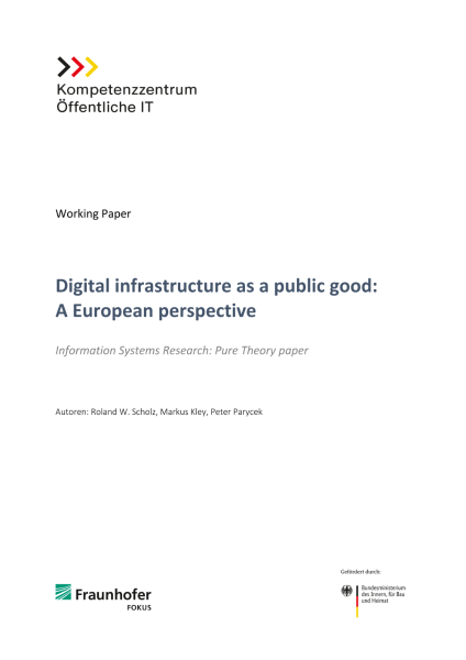 Titelseite Digital infrastructure as a public good - A European perspective